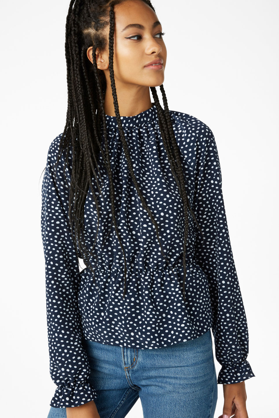 Model front image of Monki high-necked blouse in blue