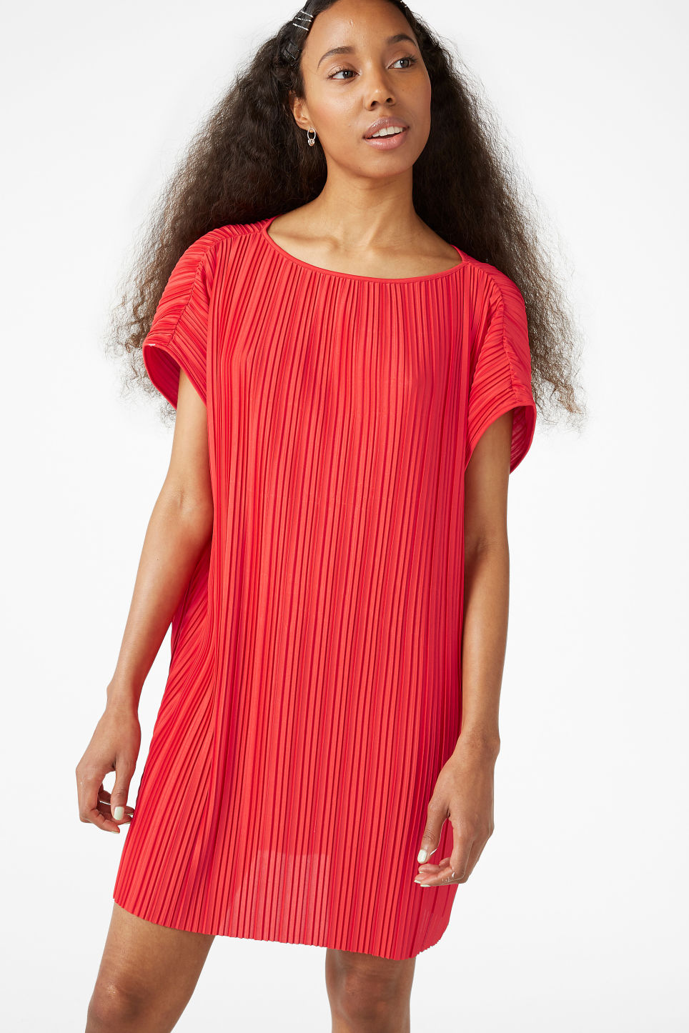 Model front image of Monki pleated oversized tunic in red