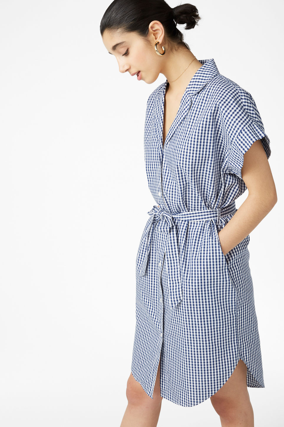 Model front image of Monki short-sleeved shirt dress in blue