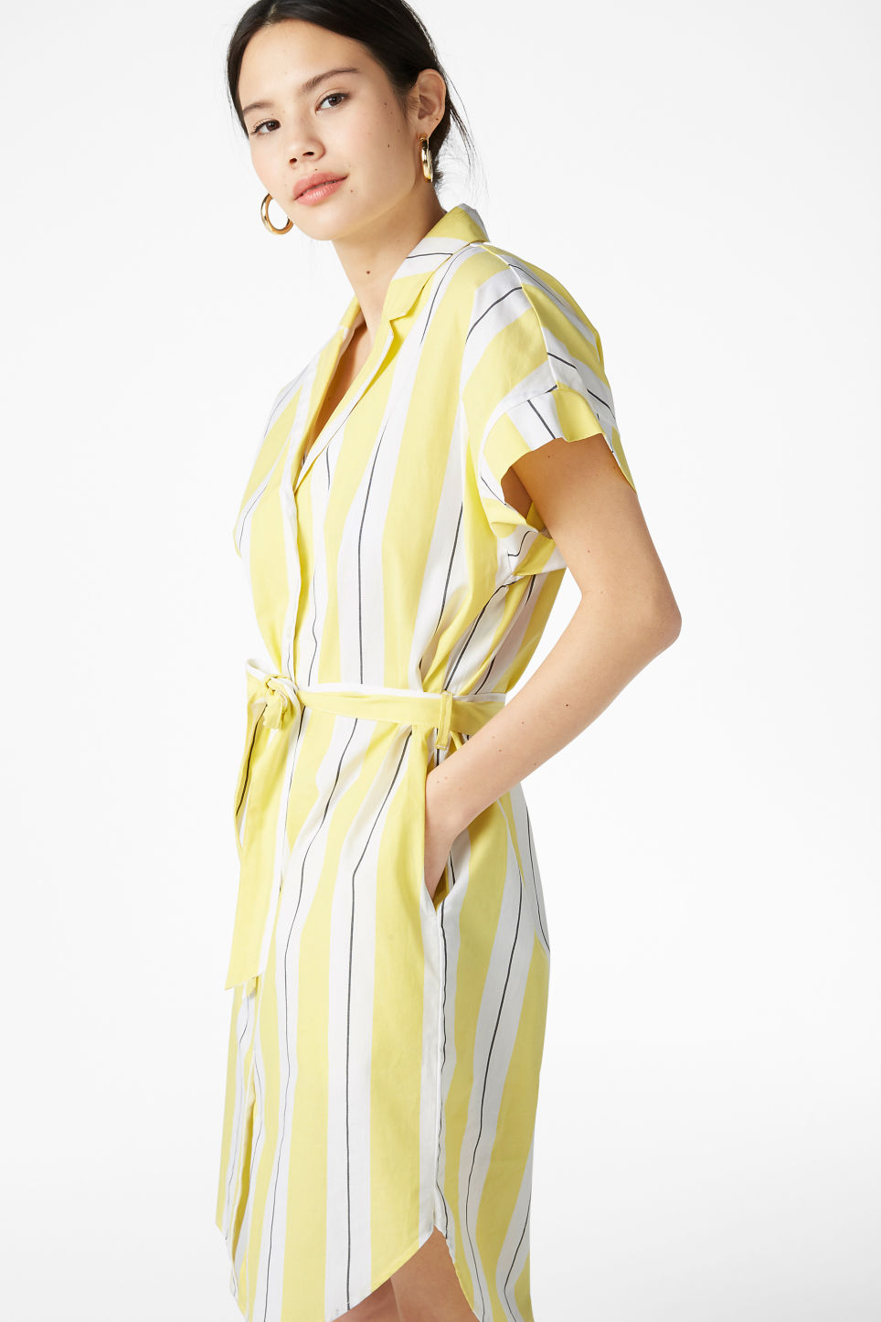 Model front image of Monki short-sleeved shirt dress in yellow