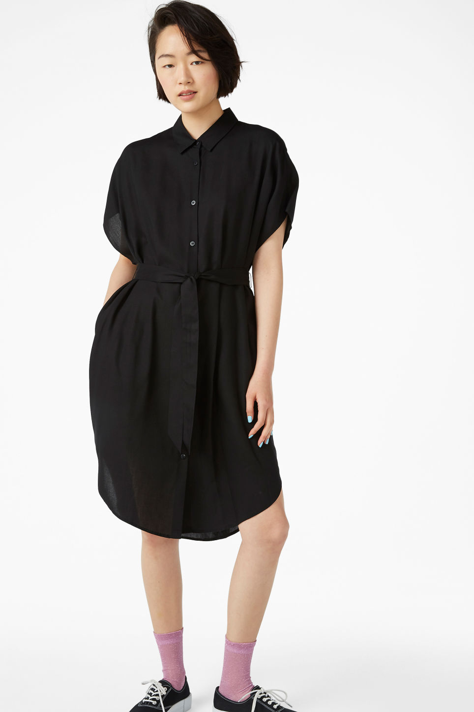 Model front image of Monki belted shirt dress in black