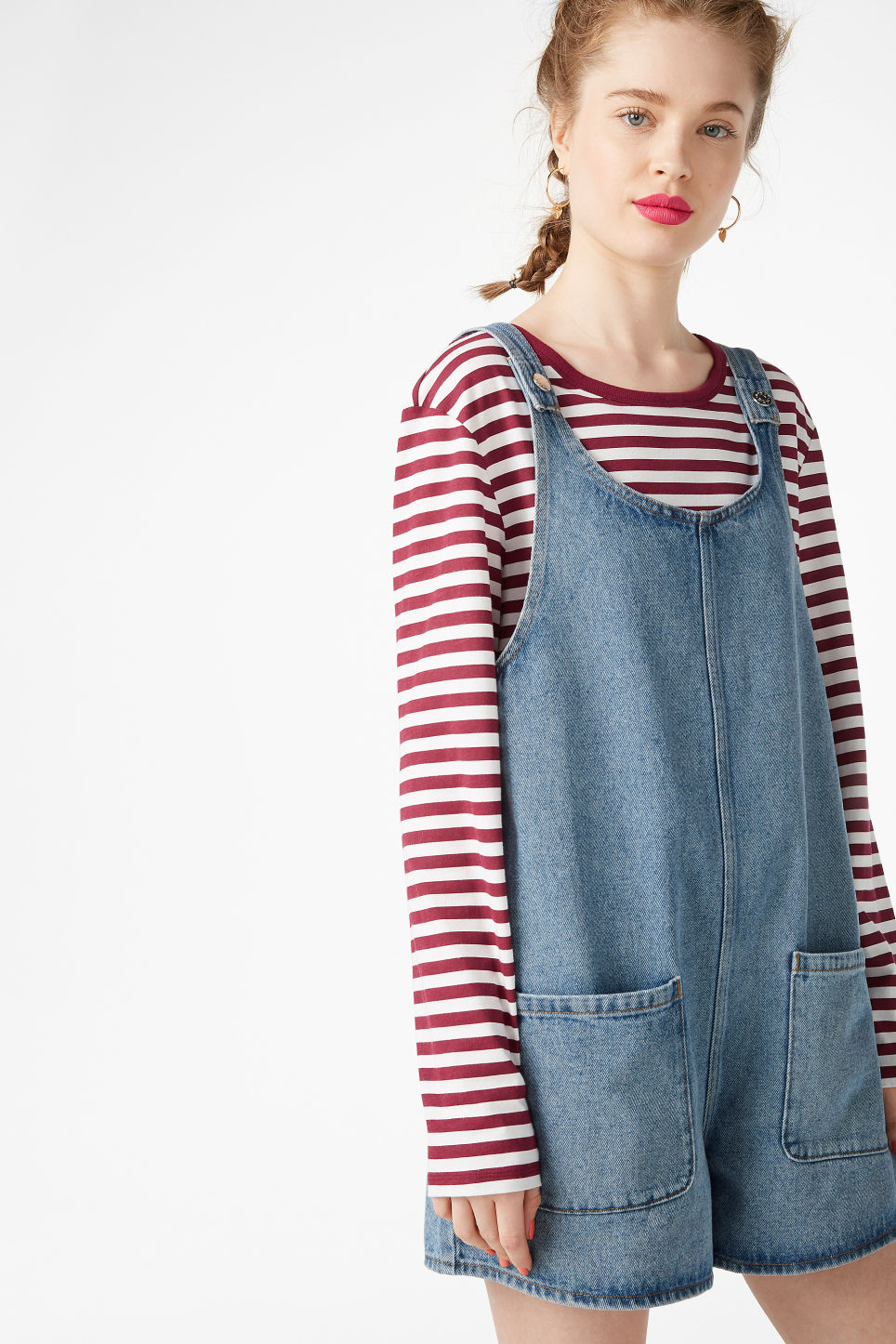 Model front image of Monki denim playsuit in blue