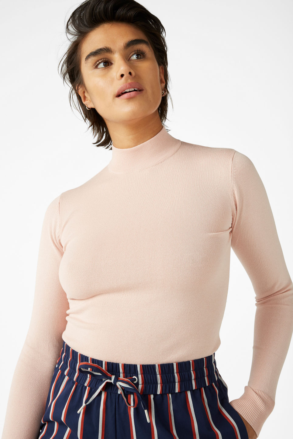 Model front image of Monki long sleeved turtleneck in orange
