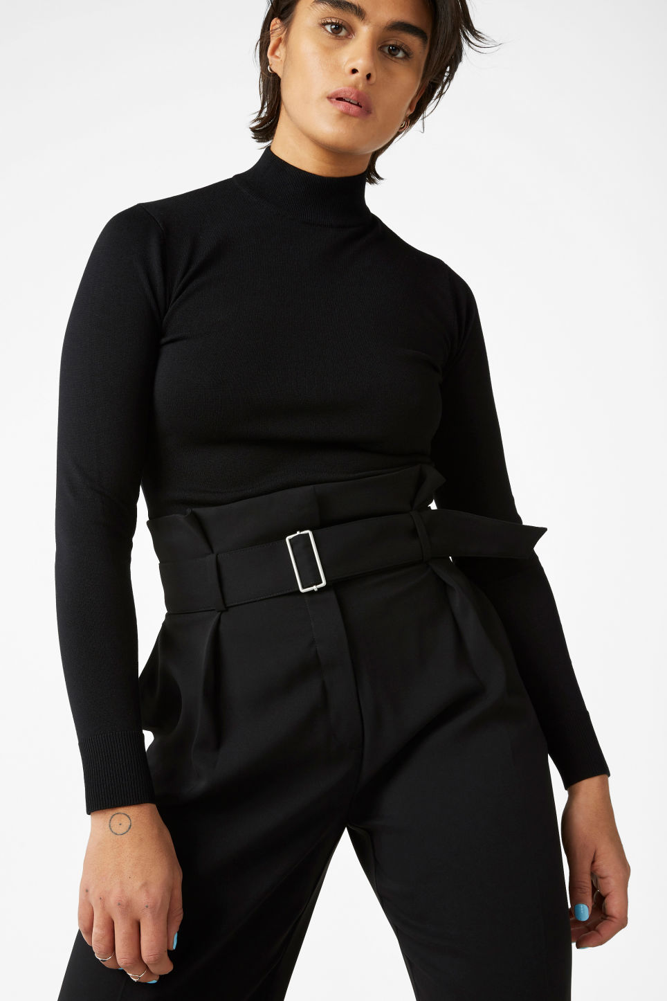 Model front image of Monki long sleeved turtleneck in black