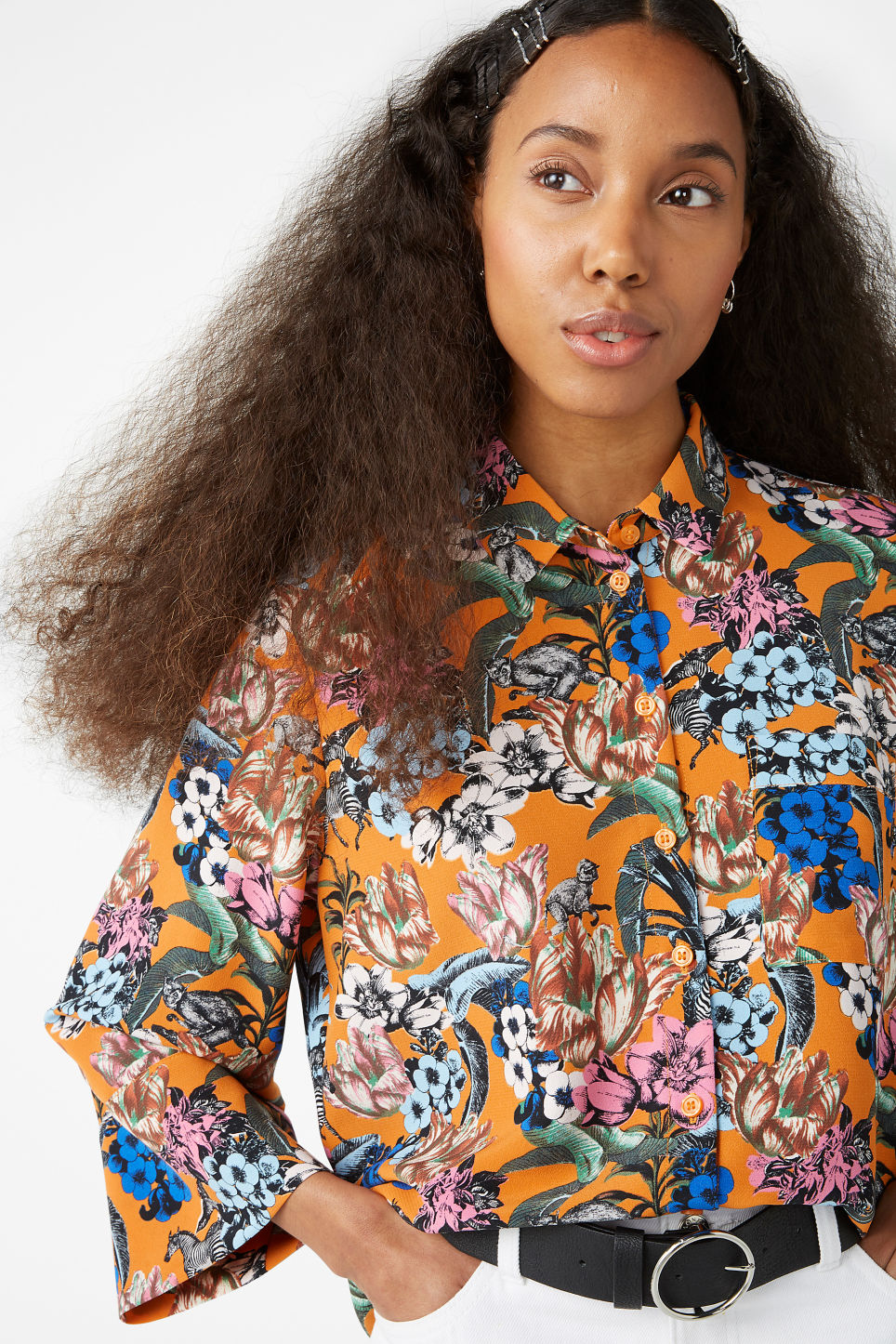 Model front image of Monki oversized button-up blouse in orange