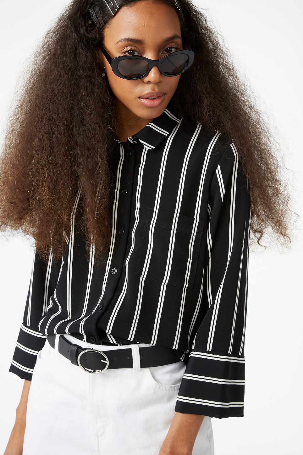 Model front image of Monki oversized button-up blouse in black