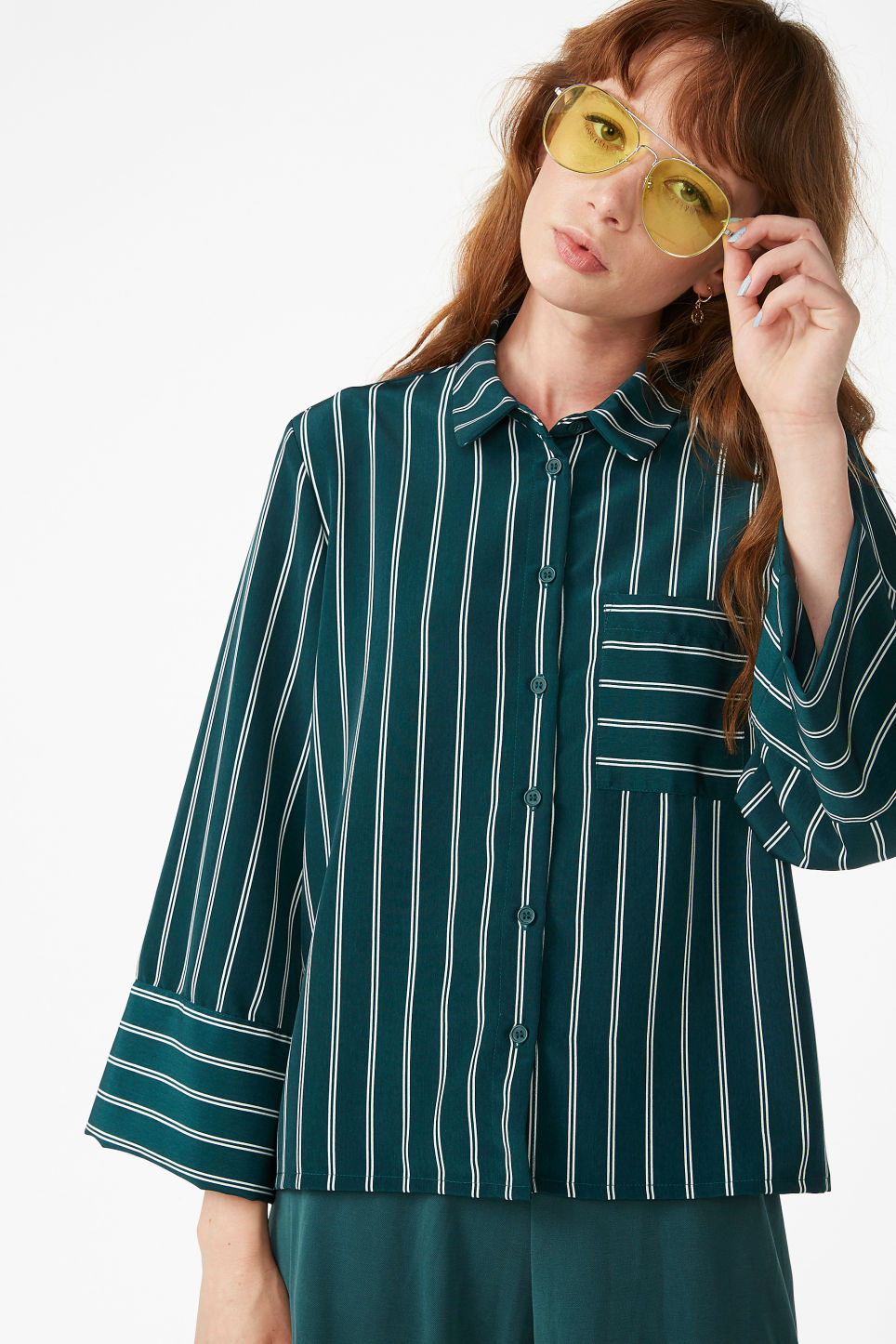 Model front image of Monki wide button-up blouse in white