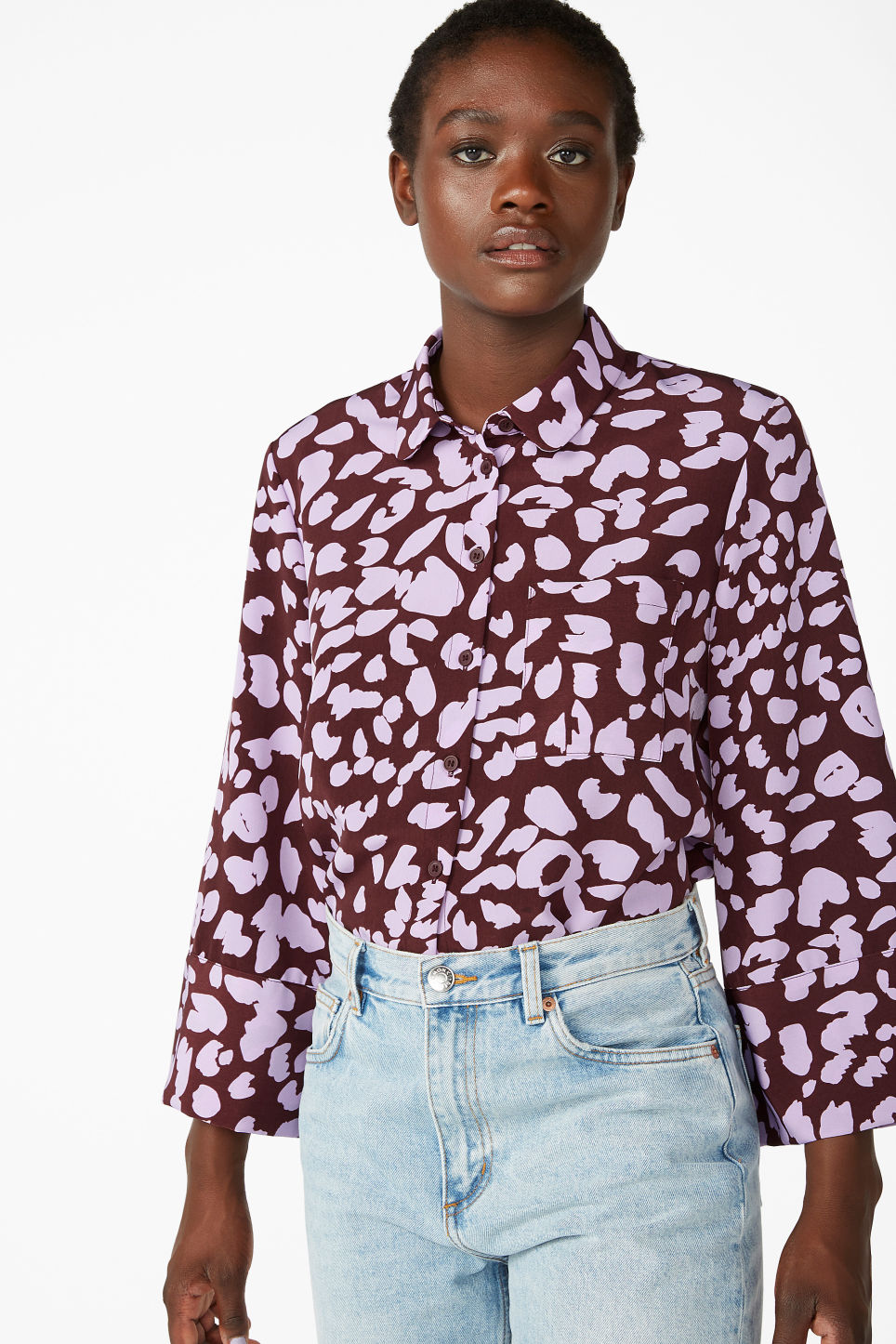 Model front image of Monki wide button-up blouse in red