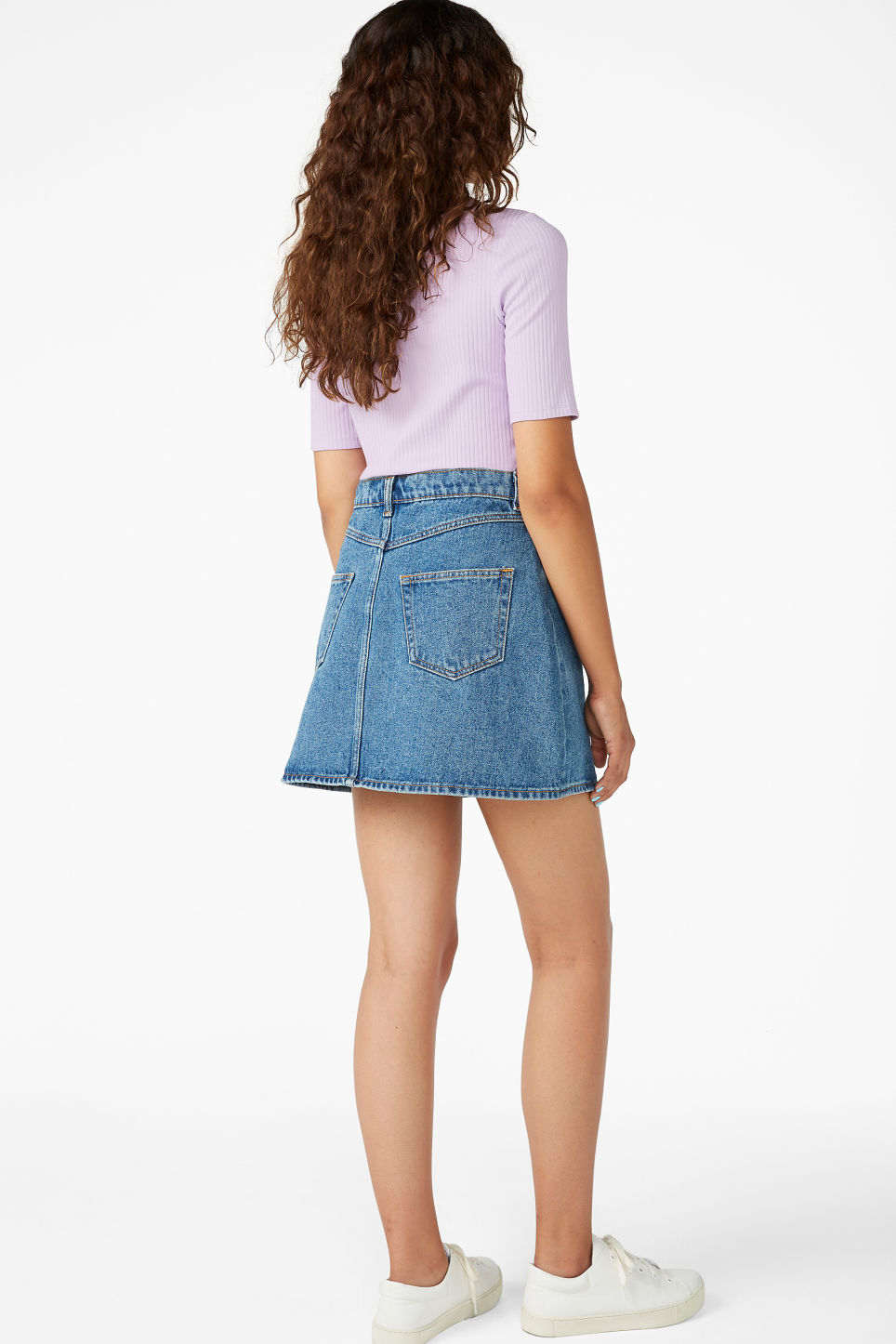 Model back image of Monki denim skirt in blue
