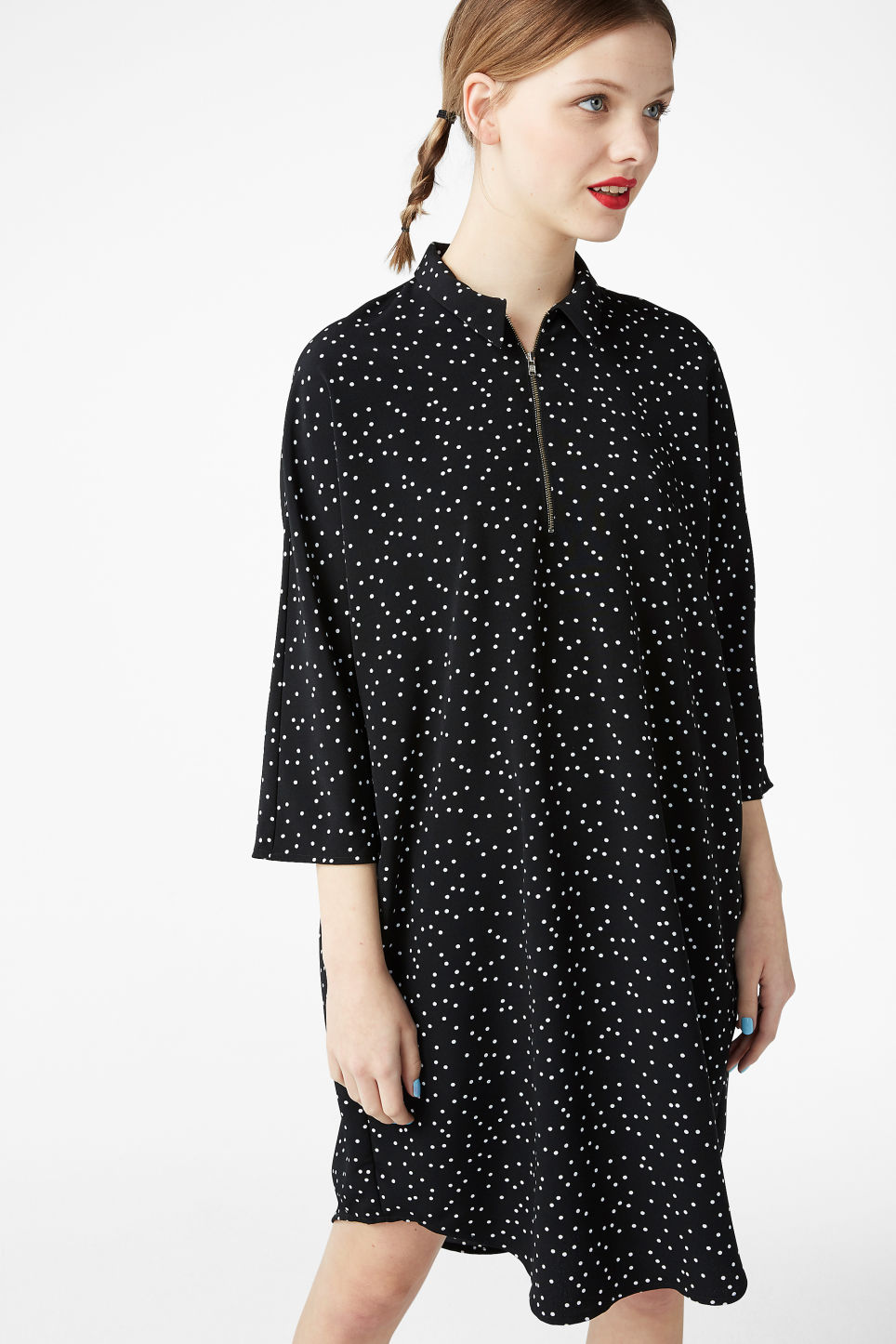 Model front image of Monki shirt dress in black