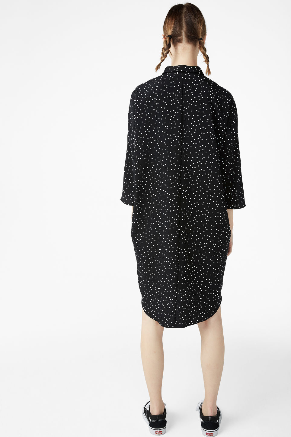 Model back image of Monki shirt dress in black