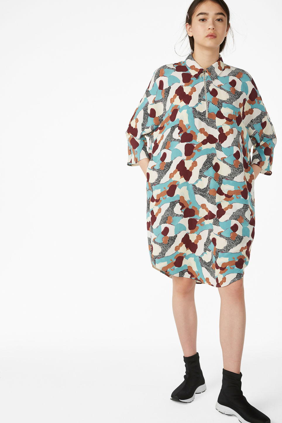 Model front image of Monki shirt dress in turquoise