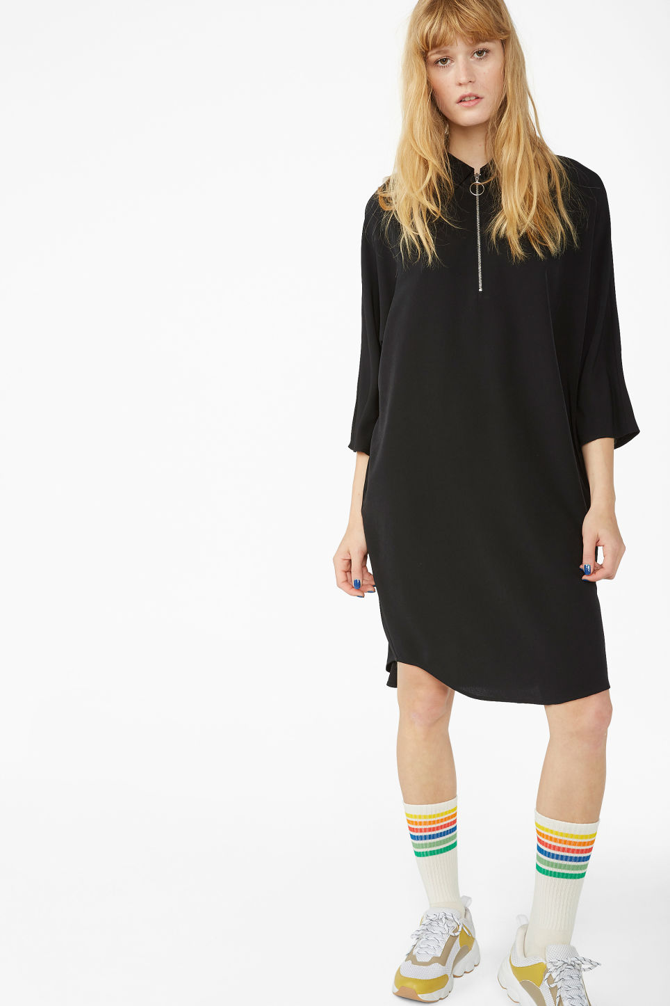 Model front image of Monki zip front shirt dress in black