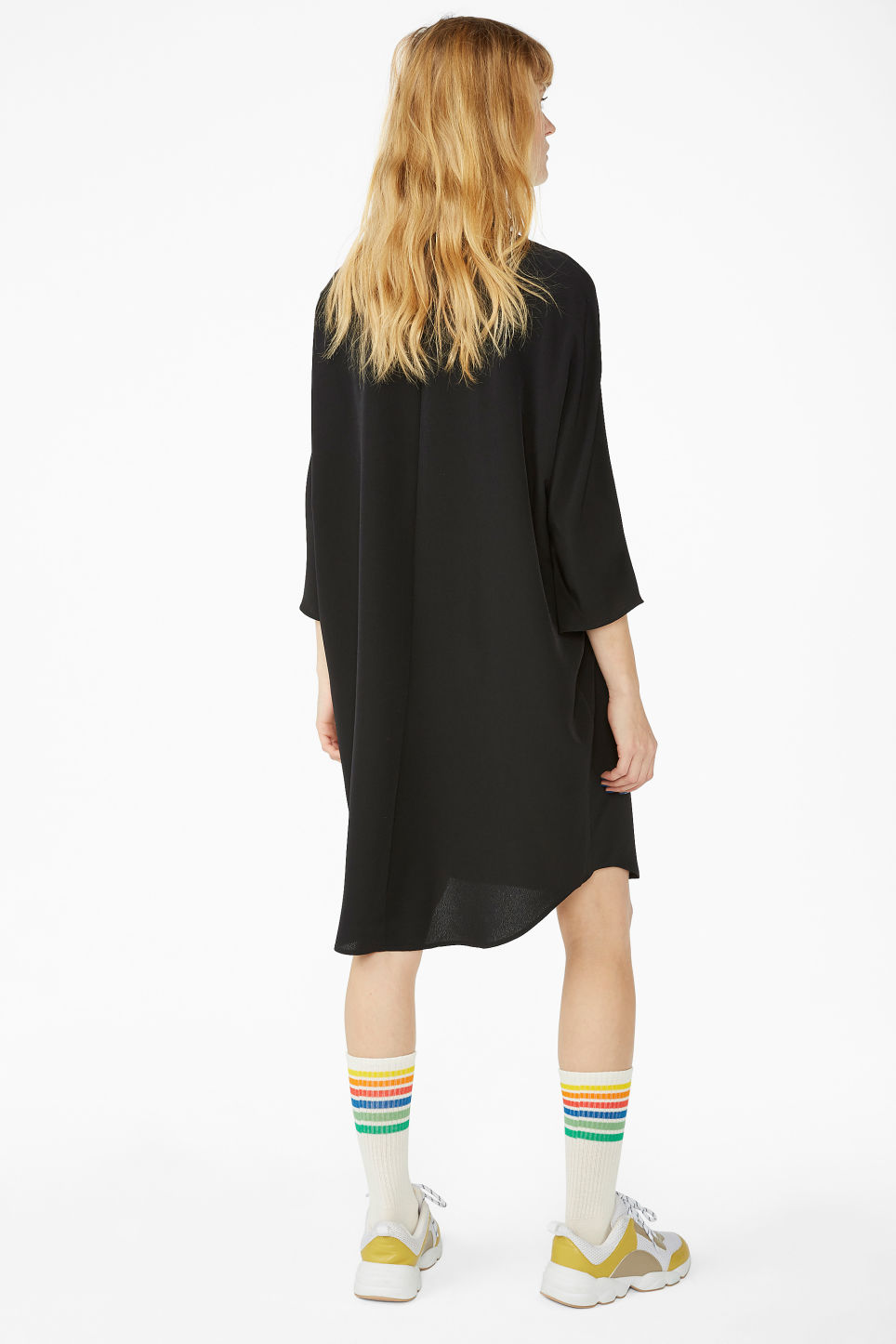 Model back image of Monki zip front shirt dress in black