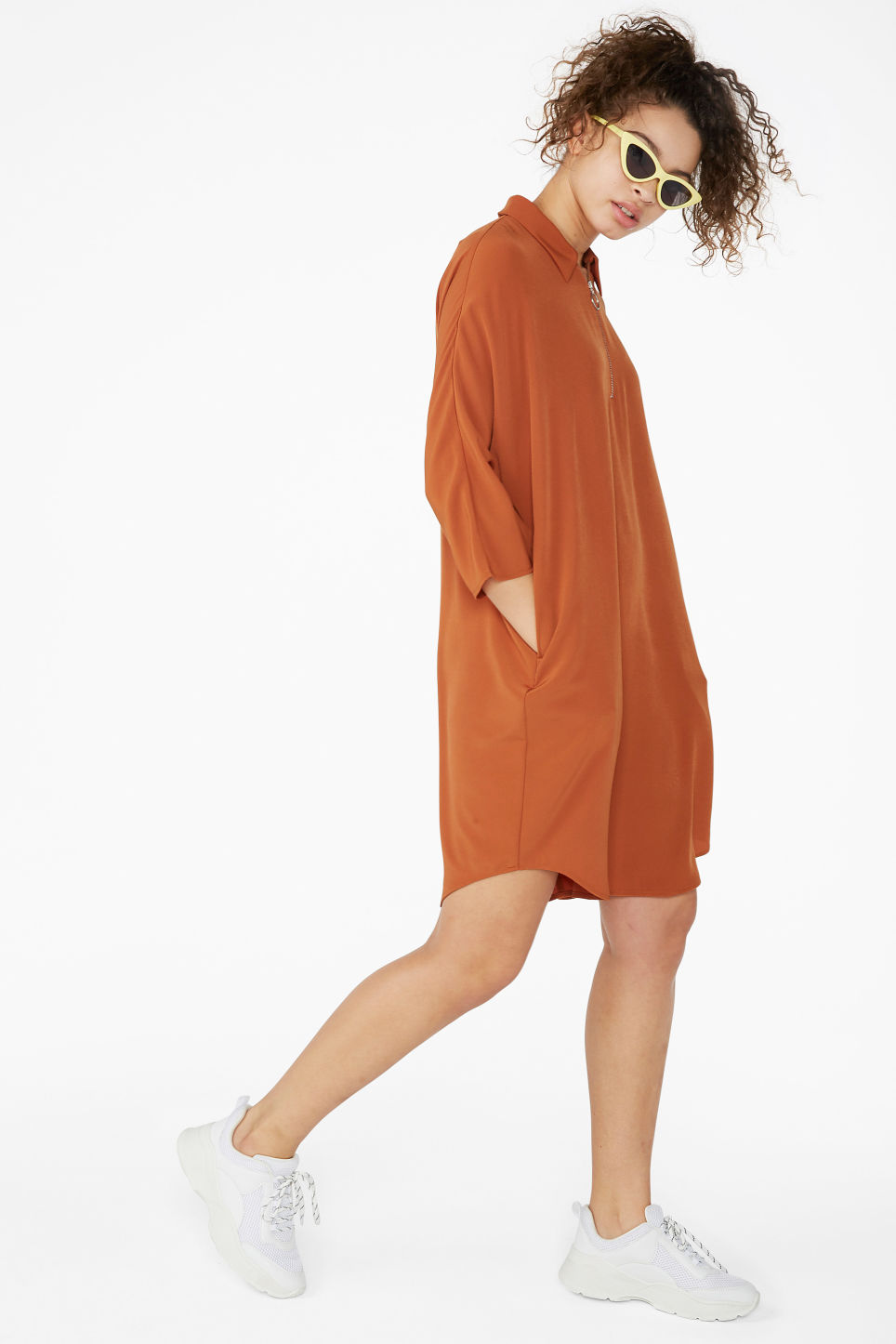 Model front image of Monki zip front shirt dress in orange