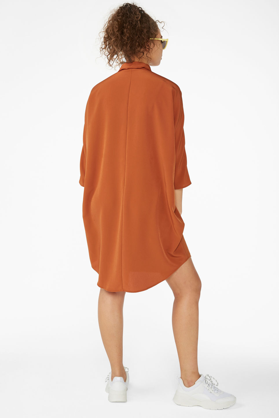 Model back image of Monki zip front shirt dress in orange