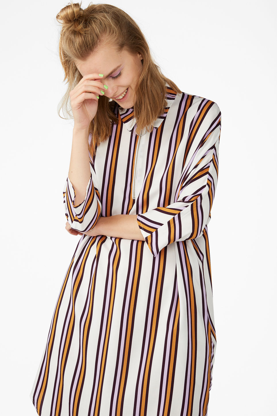 Model front image of Monki zip front shirt dress in white