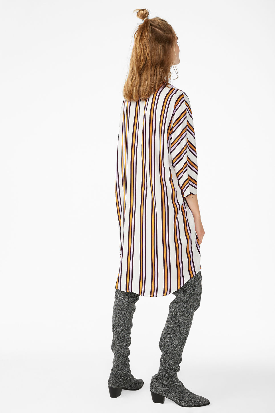 Model back image of Monki zip front shirt dress in white