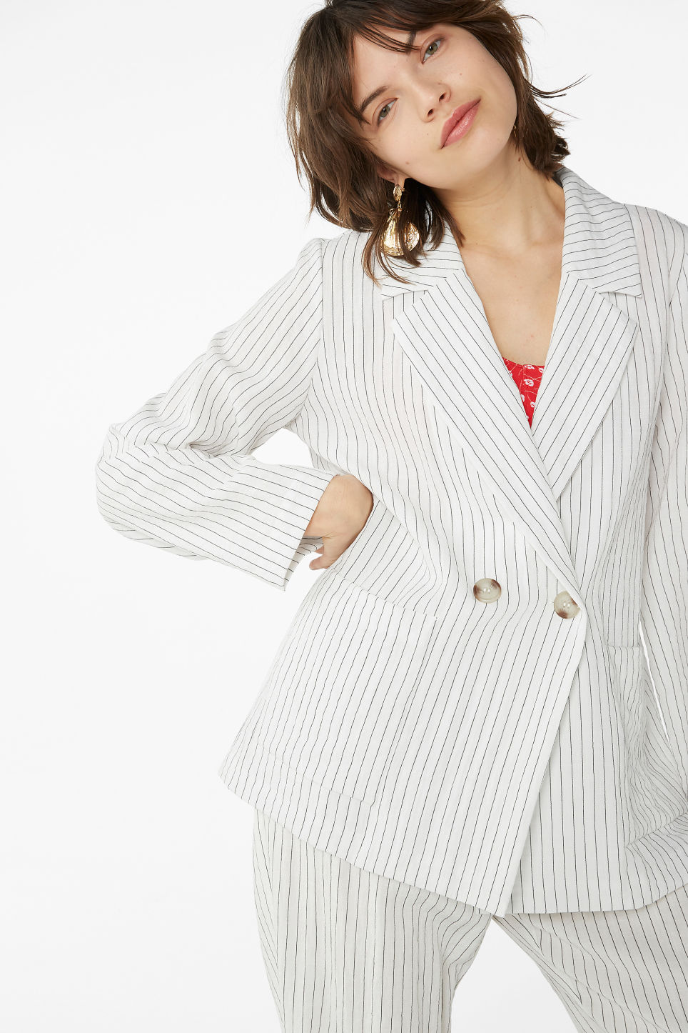 Model front image of Monki double-breasted blazer in white