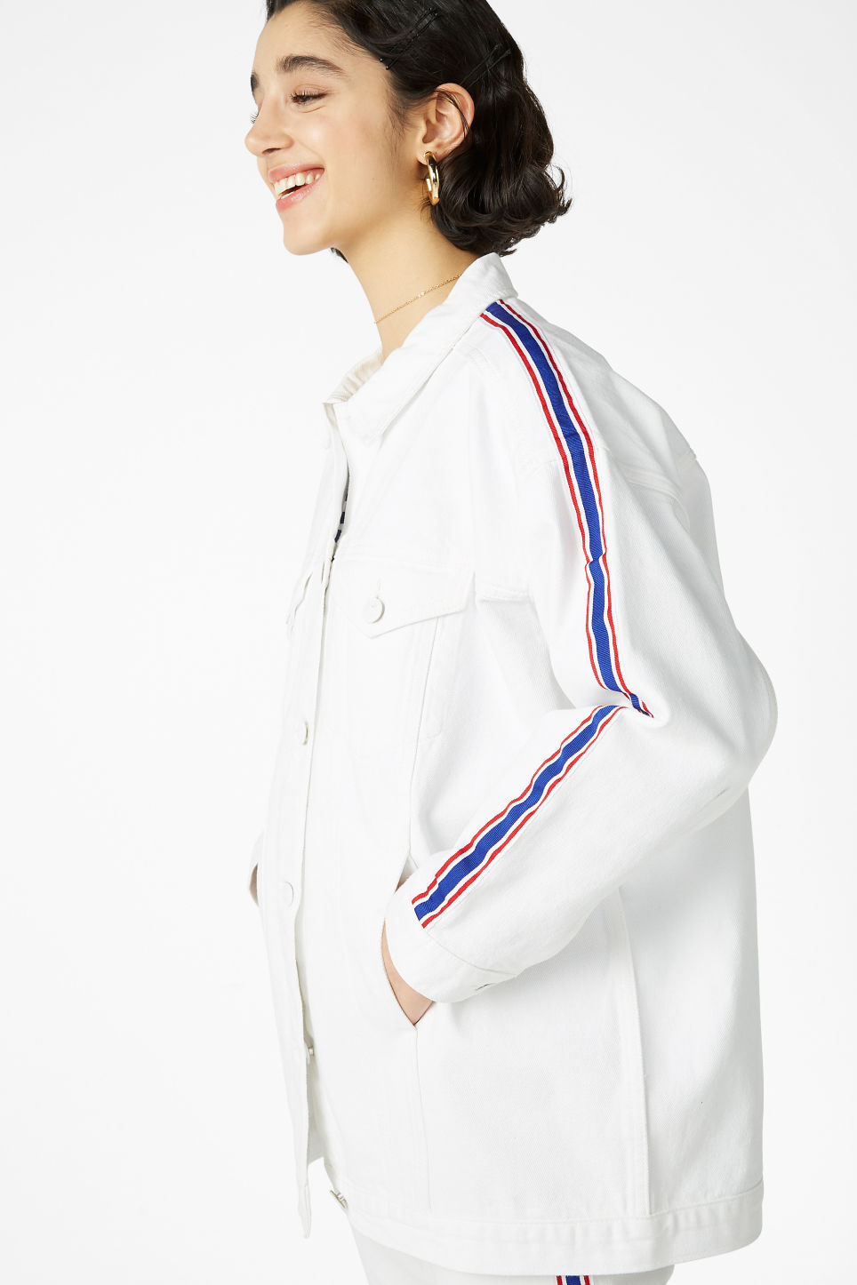 Model front image of Monki denim jacket in white