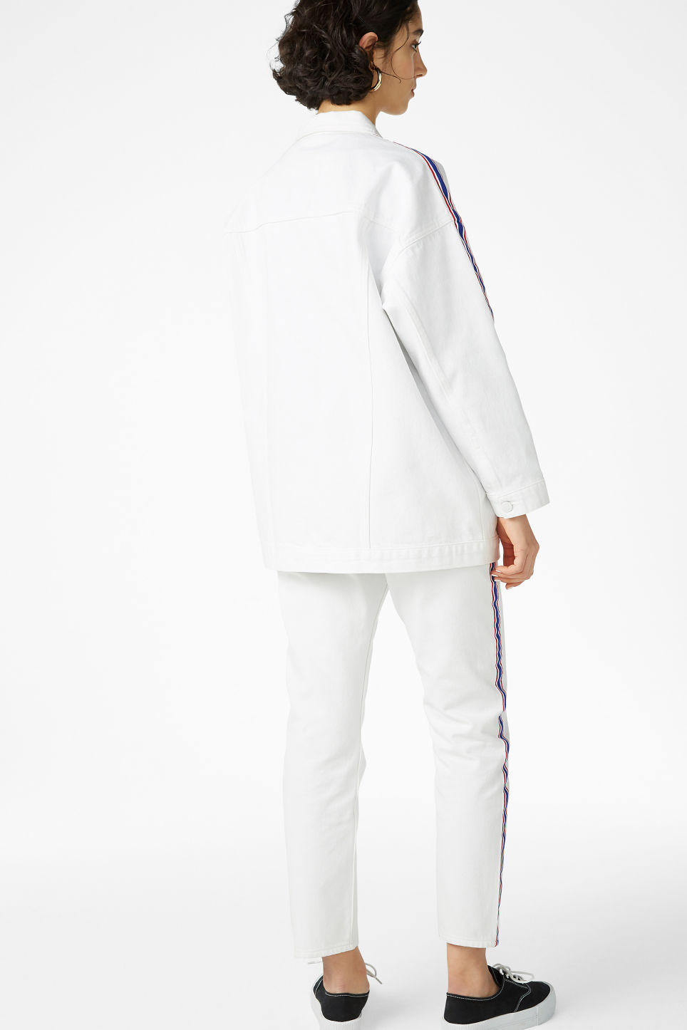 Model back image of Monki denim jacket in white