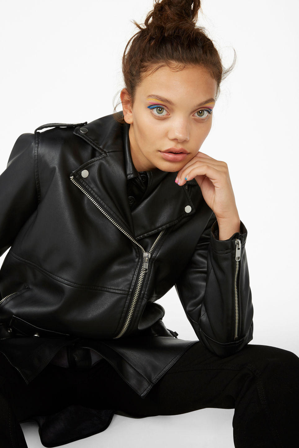 Model front image of Monki biker jacket in black