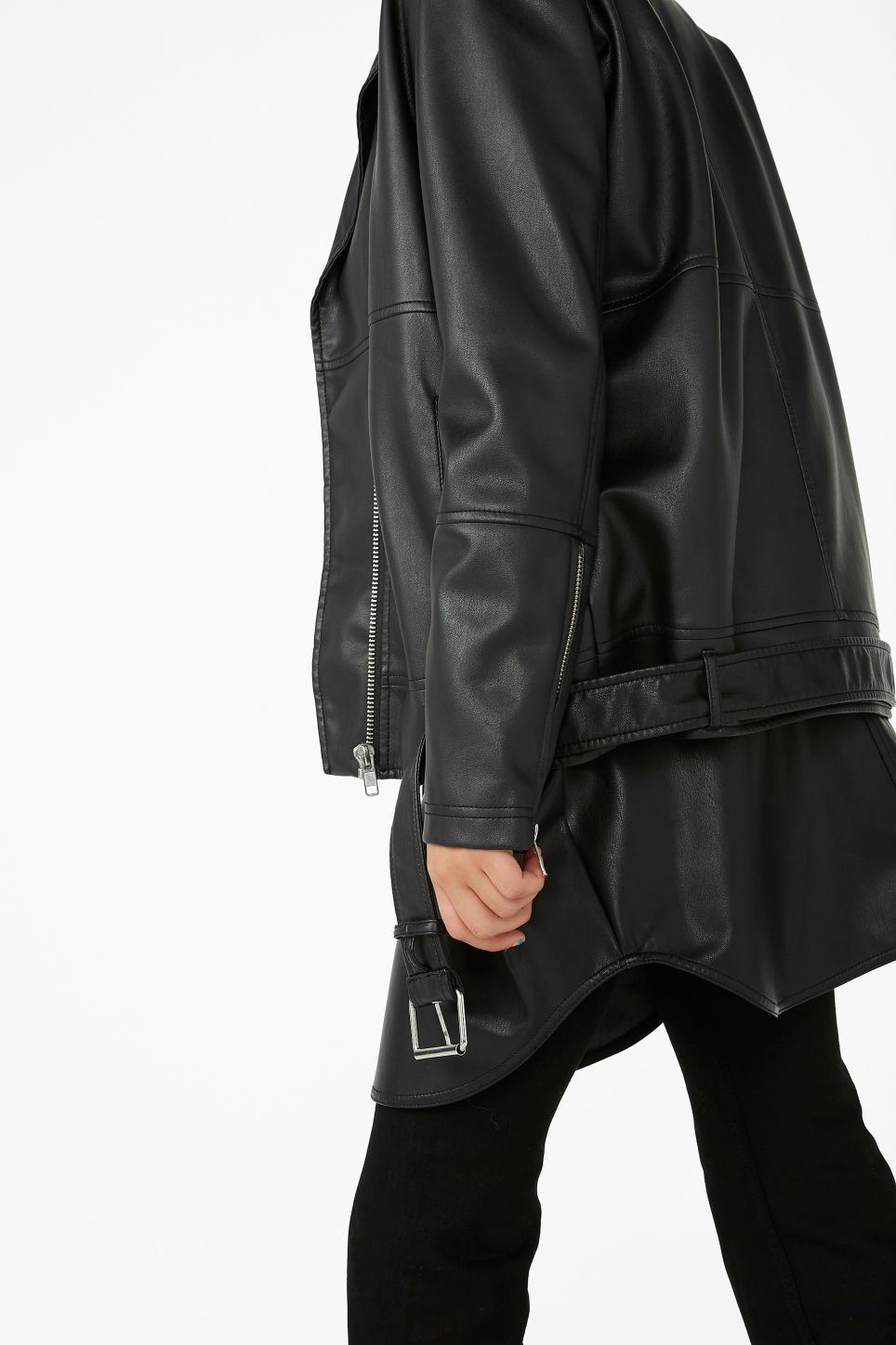 Model side image of Monki biker jacket in black
