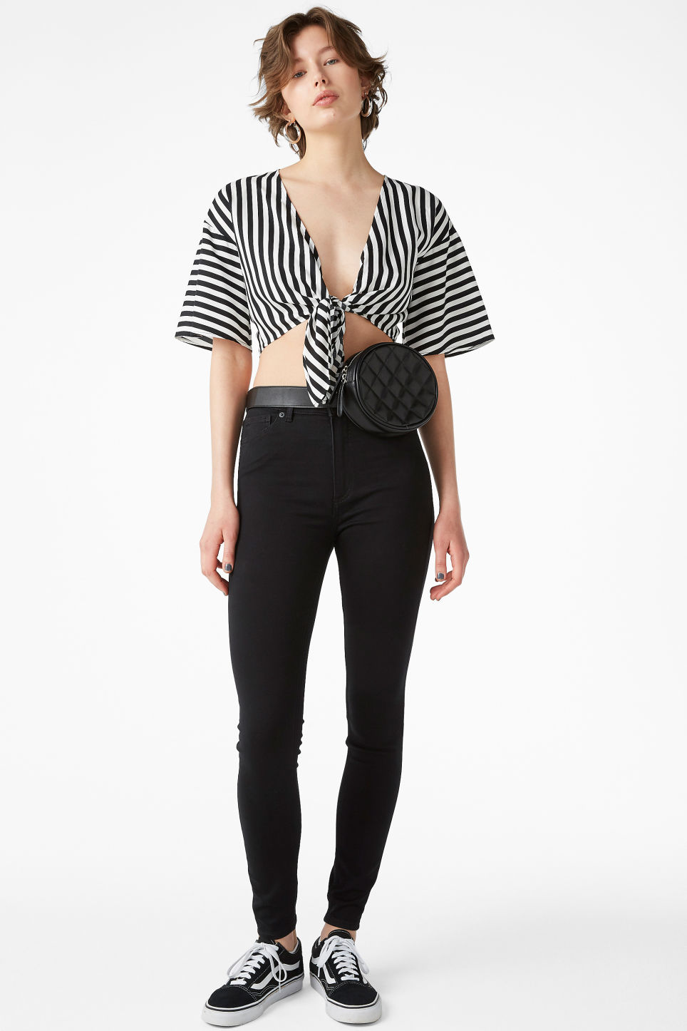 Model front image of Monki cropped tie blouse in black