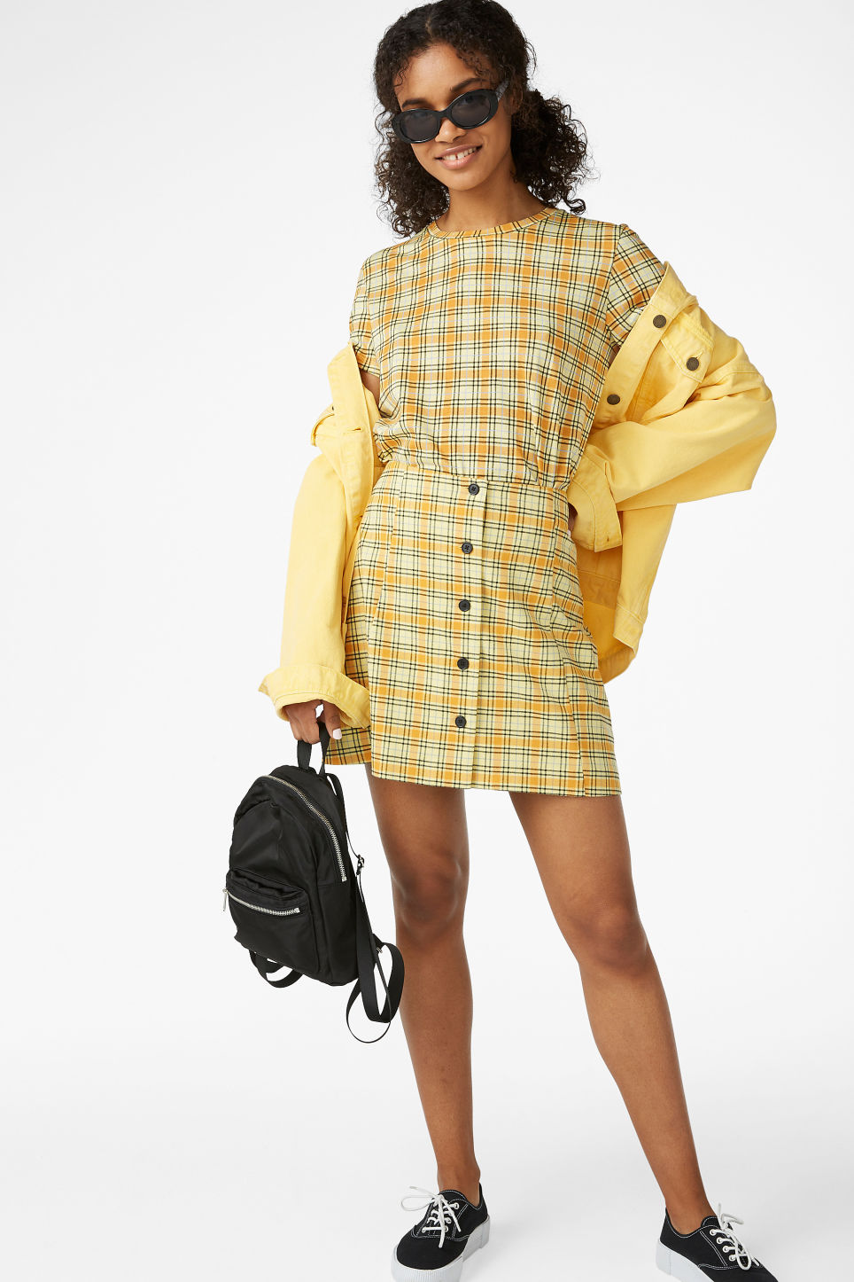 Model front image of Monki a-line mini skirt  in yellow