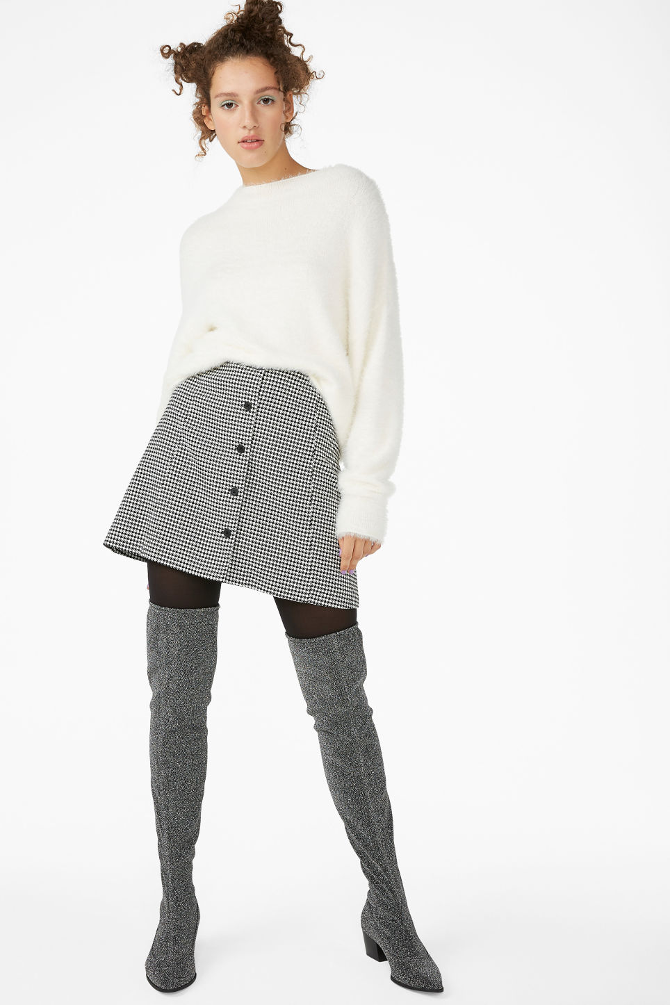 Model front image of Monki a-line mini skirt  in white