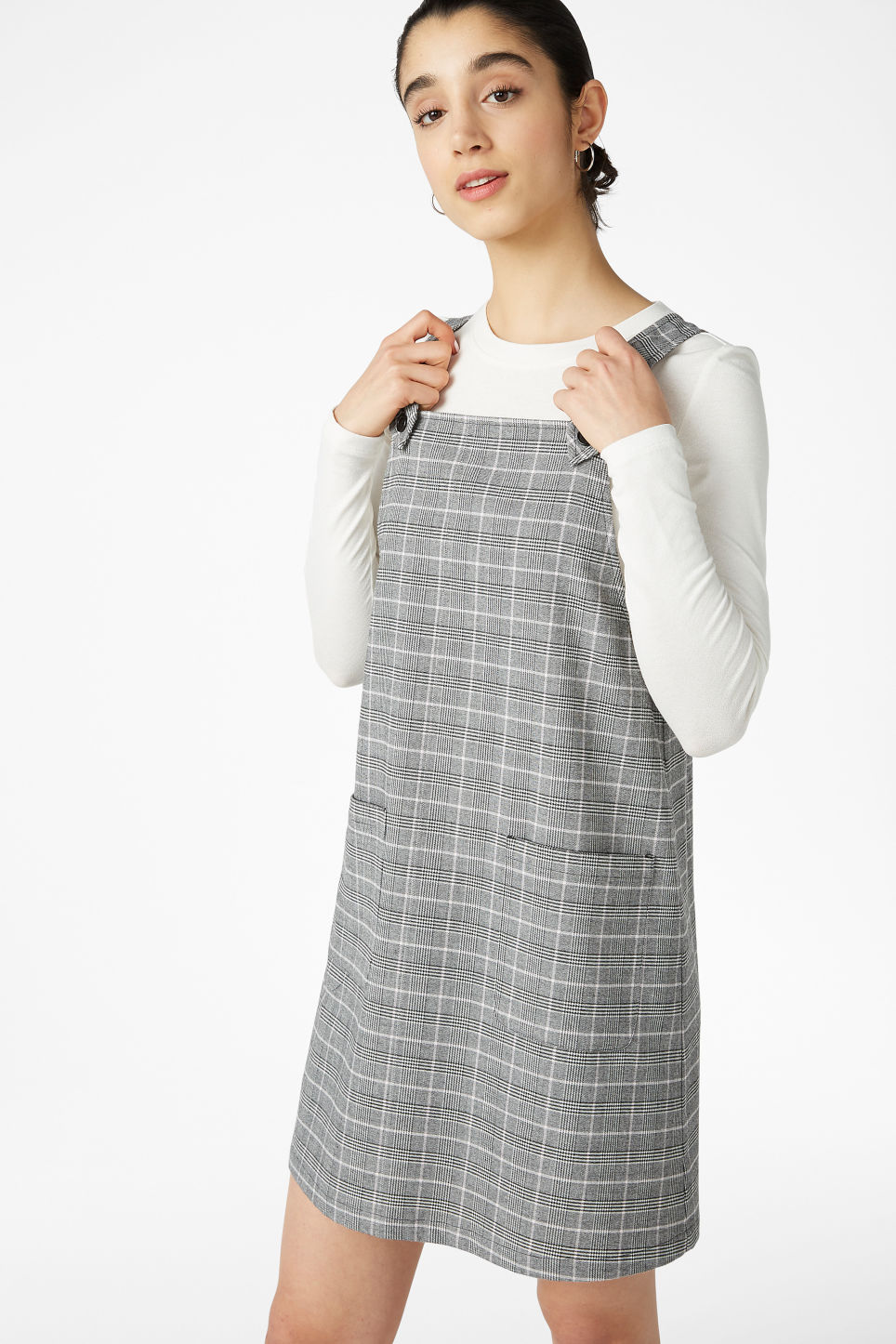 Model front image of Monki pinafore dress in grey