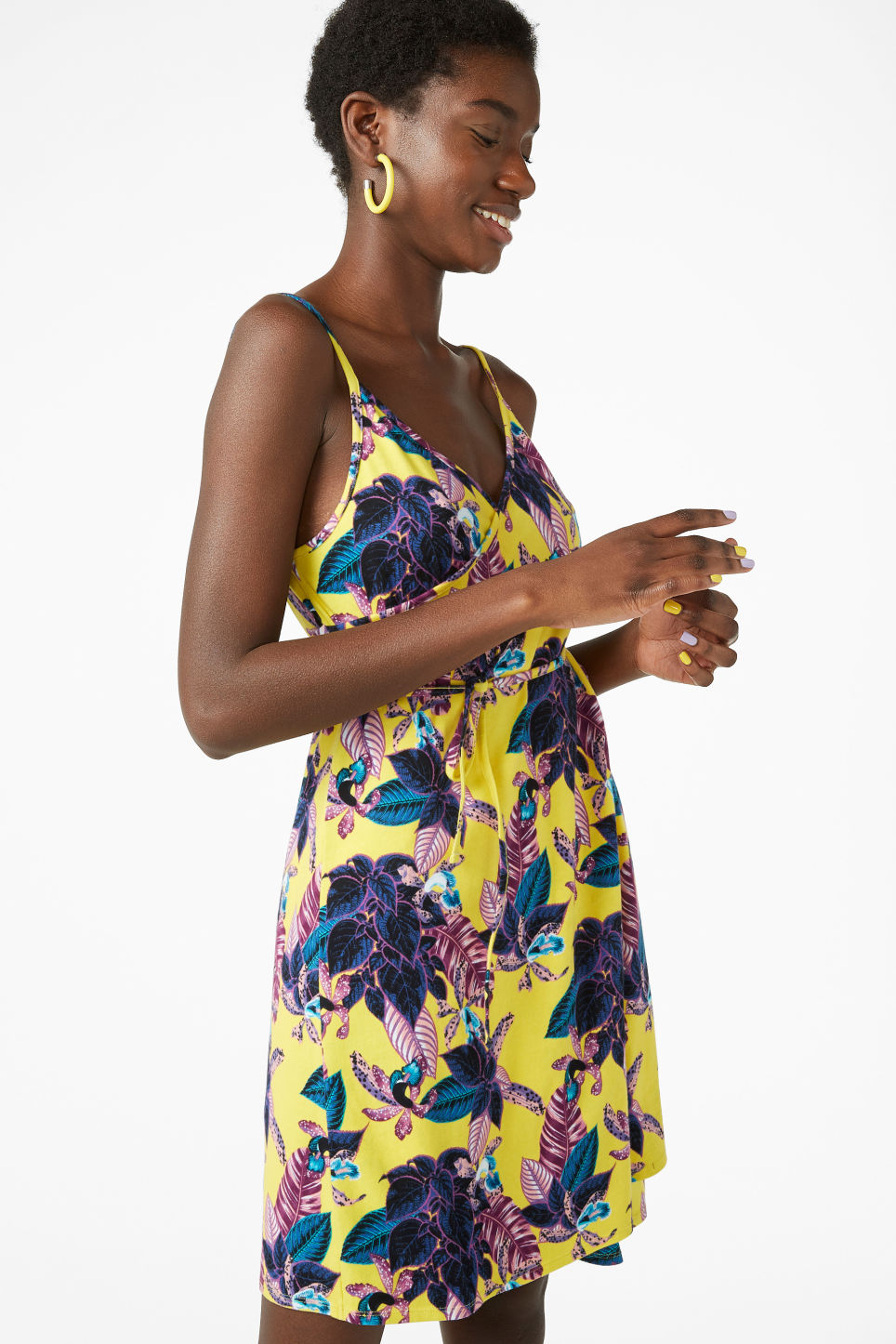 Model front image of Monki wrap dress in yellow