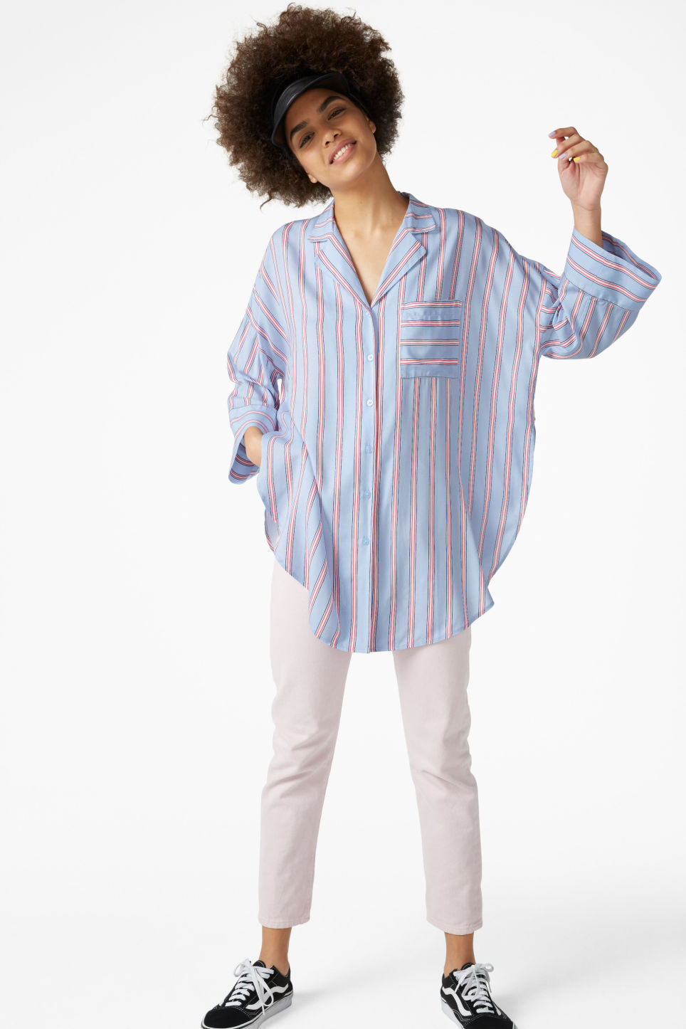 Model front image of Monki pj blouse in blue