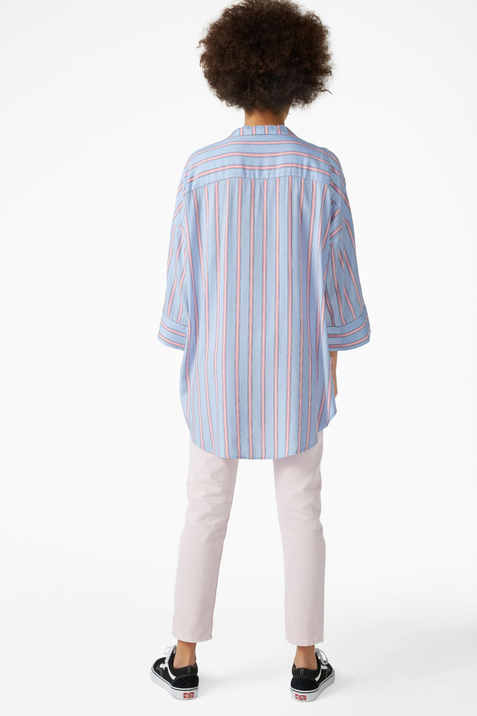 Model back image of Monki pj blouse in blue