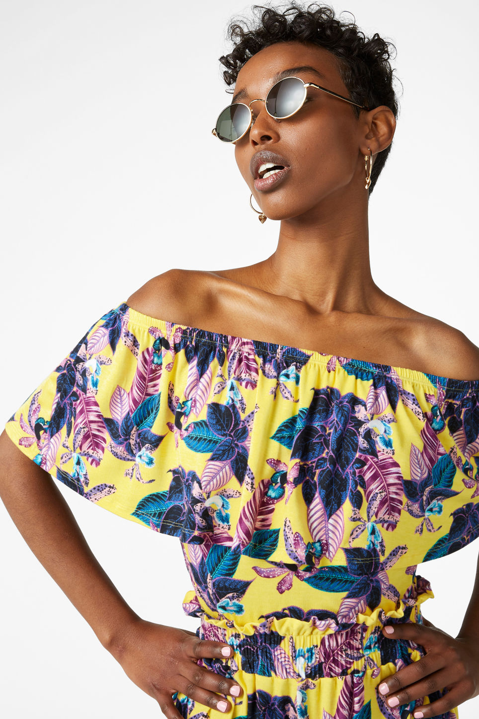 Model front image of Monki cold shoulder top in yellow