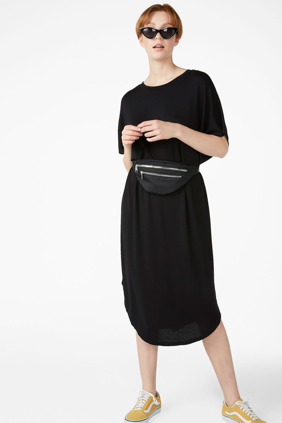 Model front image of Monki oversized t-shirt dress in black