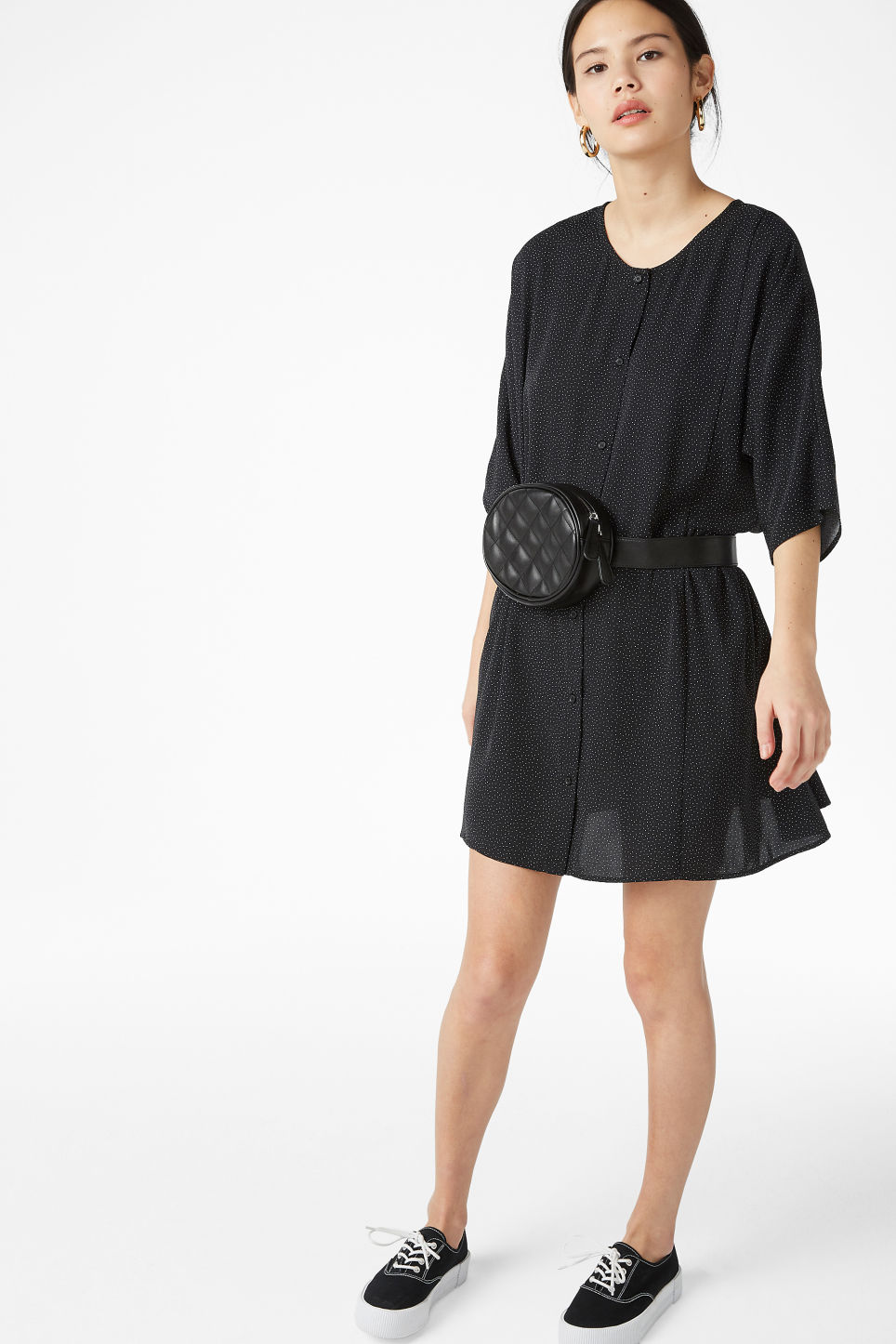 Model front image of Monki ruffled dress in black