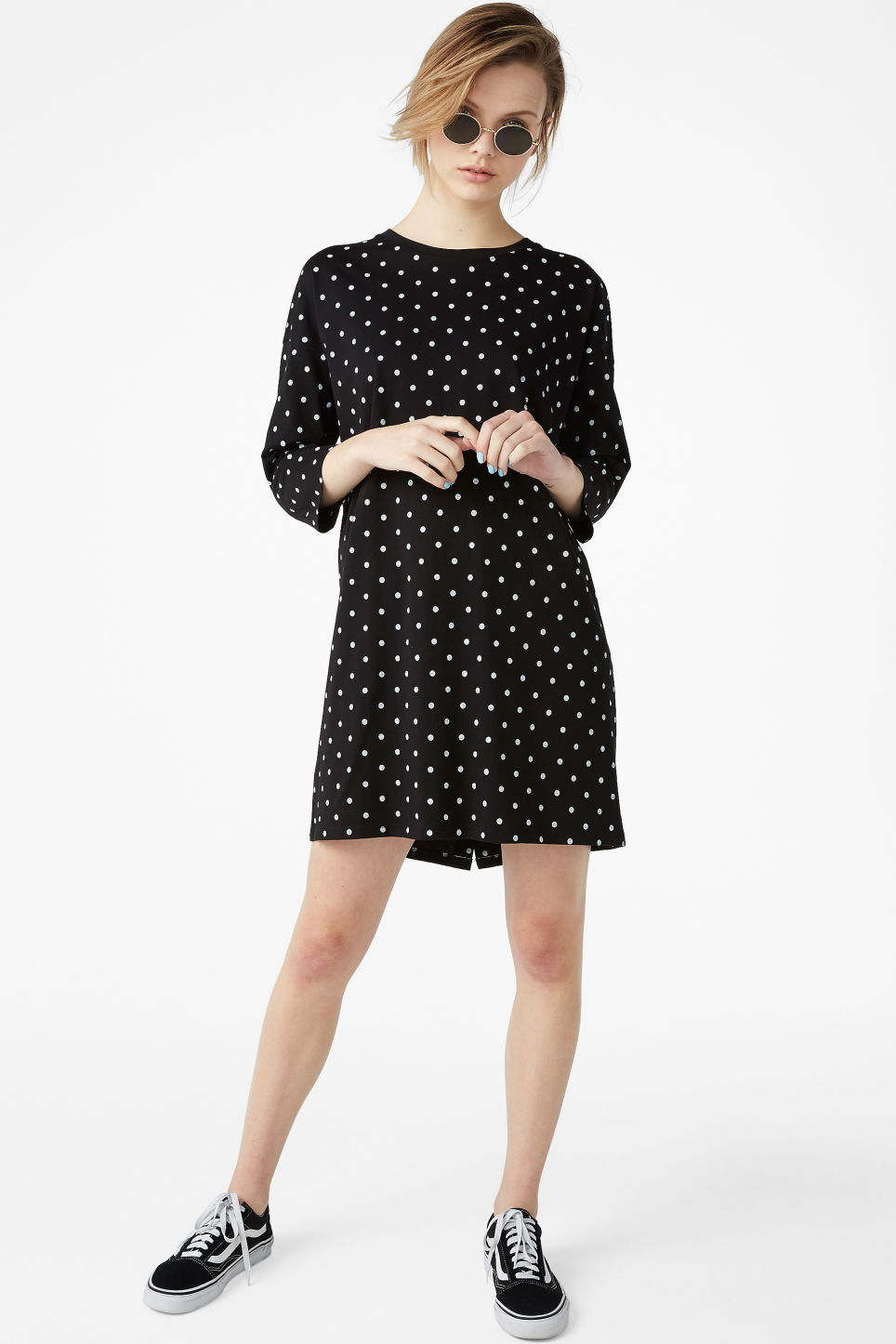 Model front image of Monki button back dress in black