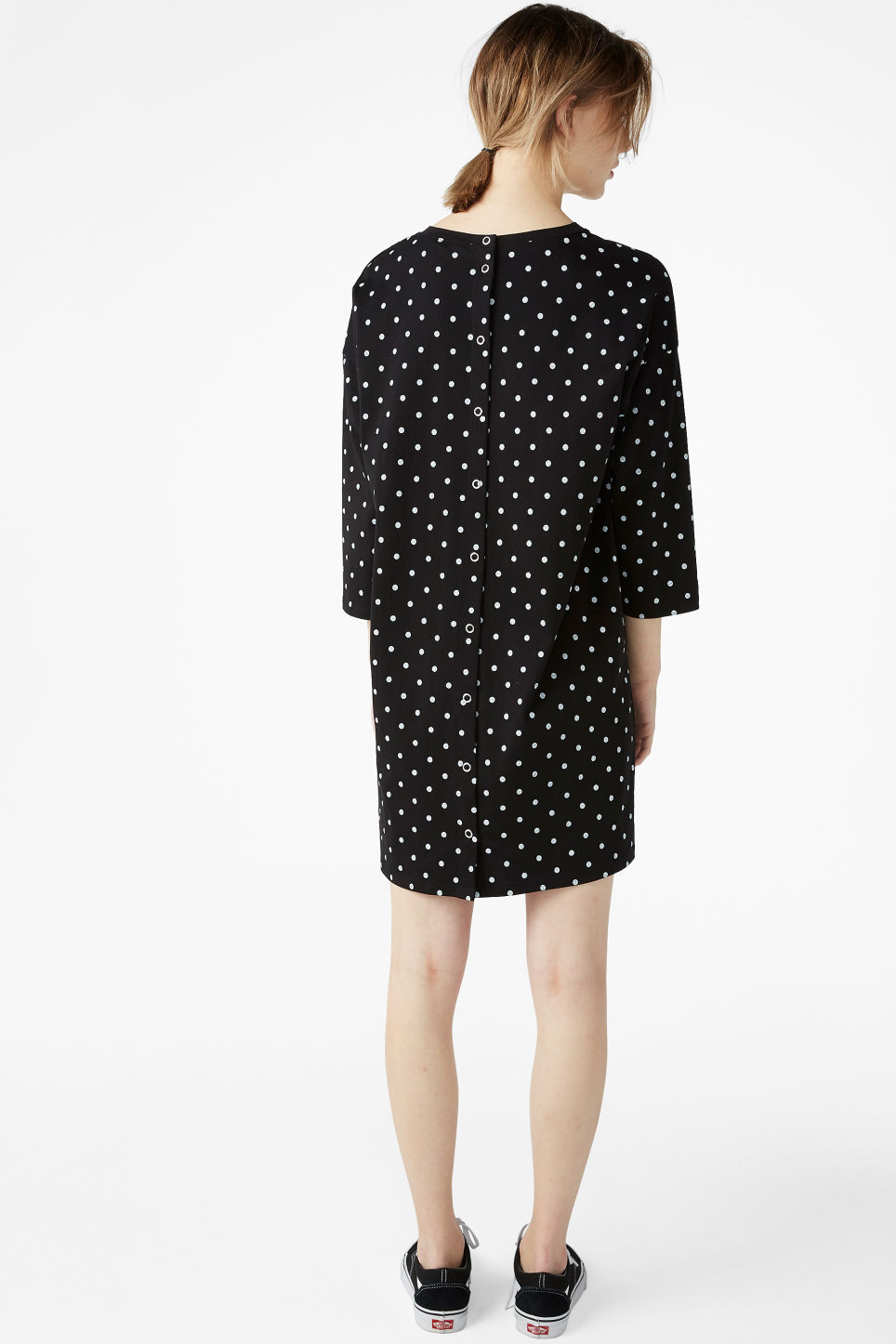 Model back image of Monki button back dress in black