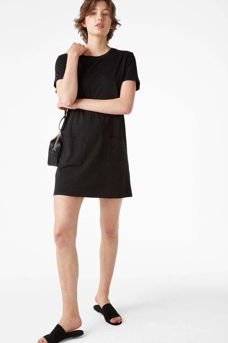 Model front image of Monki soft t-shirt dress in black