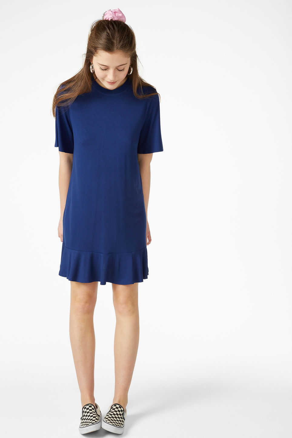 Model front image of Monki t-shirt dress  in blue