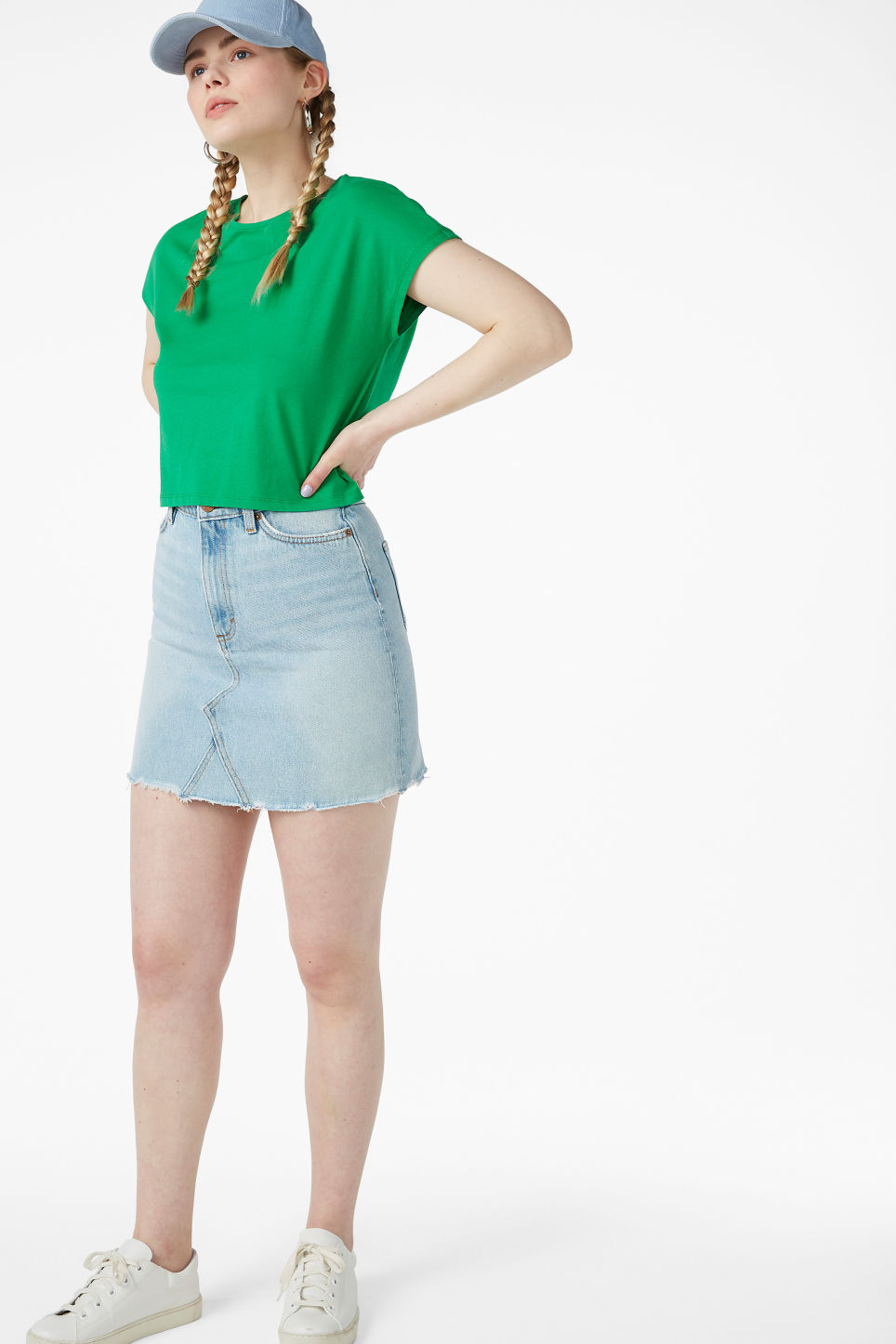 Model front image of Monki cropped top in green