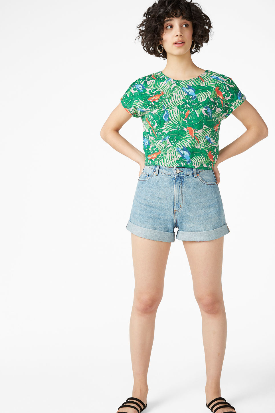 Model side image of Monki cropped top in pink