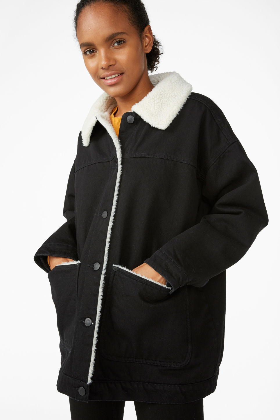 Model front image of Monki lined utility jacket in black