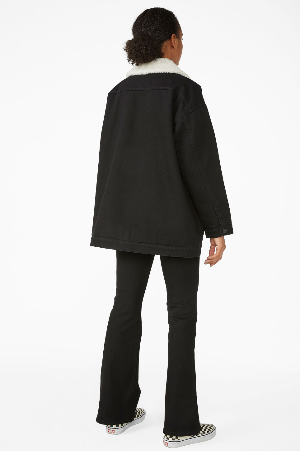Model back image of Monki lined utility jacket in black