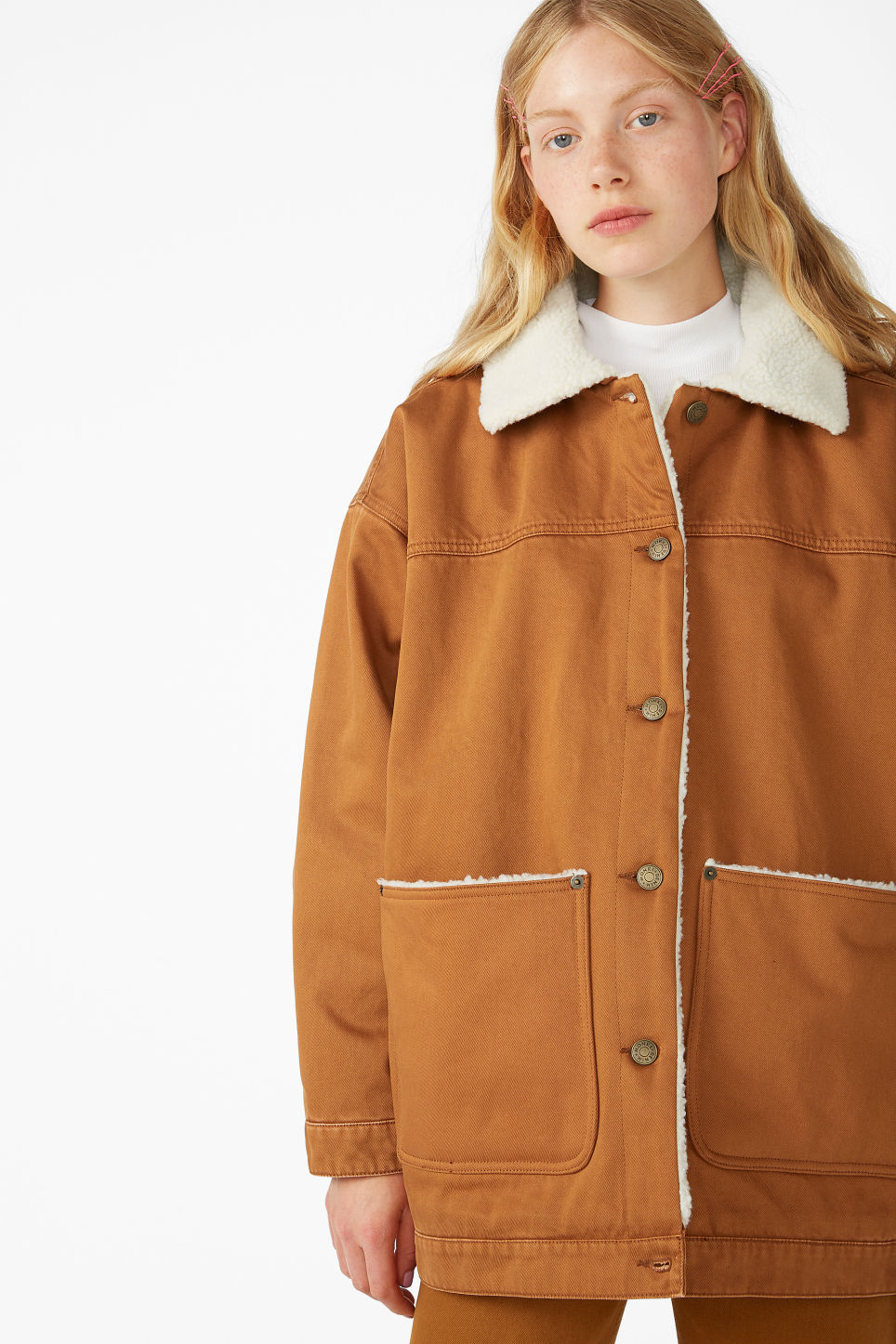 Model front image of Monki lined utility jacket in orange
