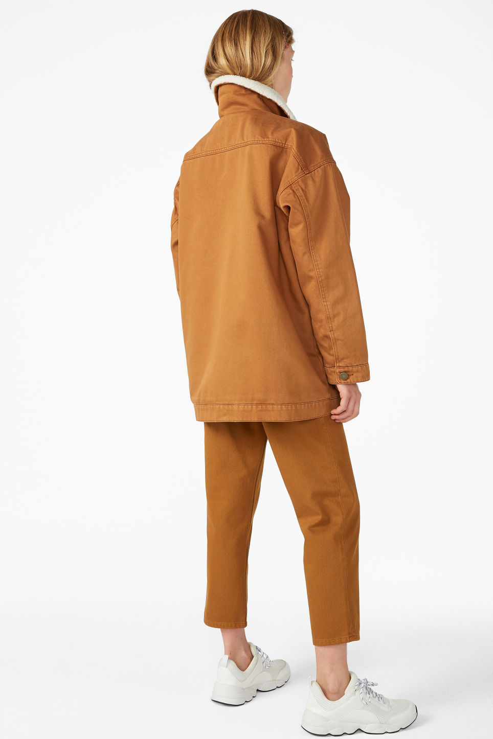 Model back image of Monki lined utility jacket in orange