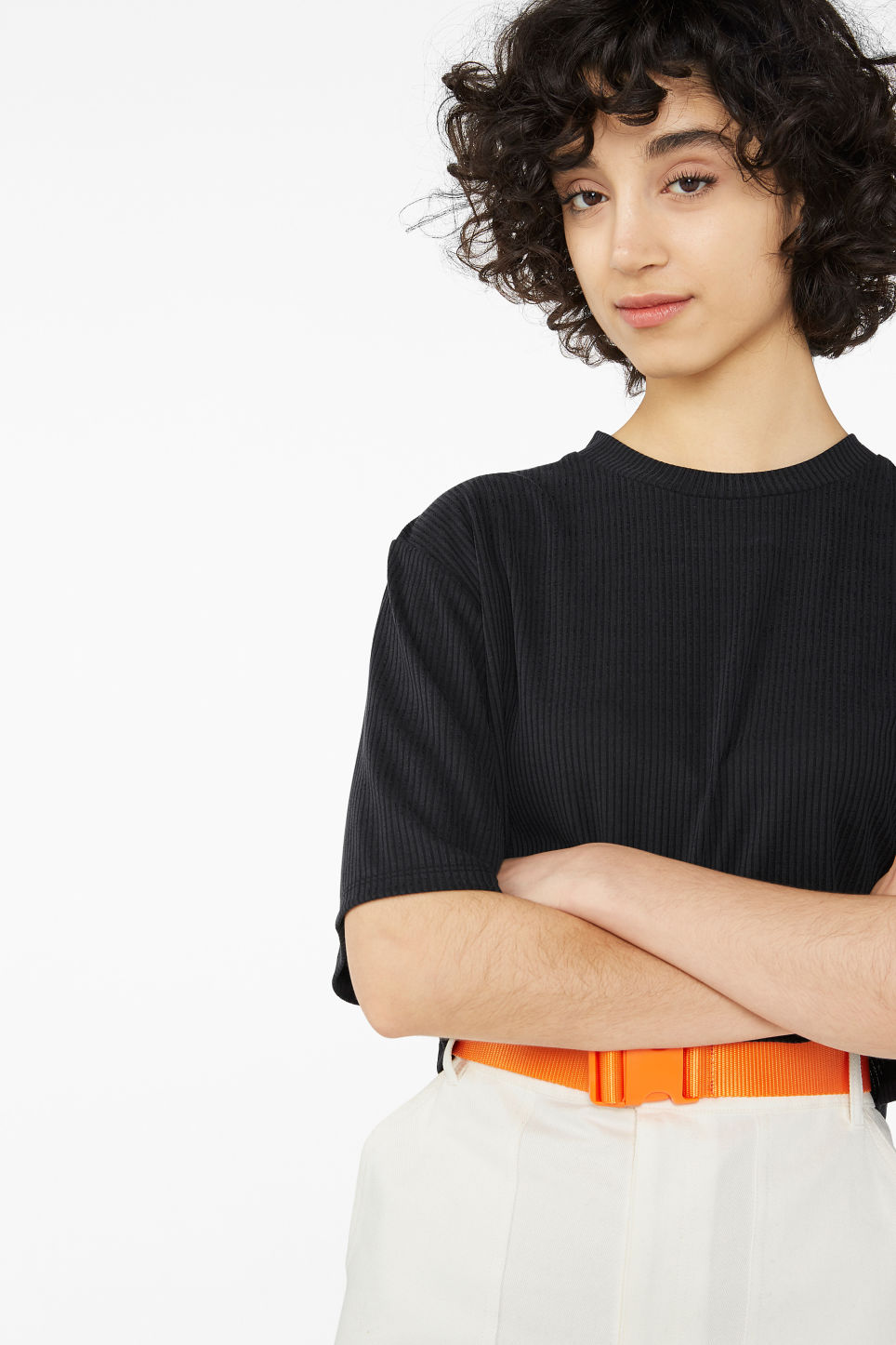 Model front image of Monki cropped top in black