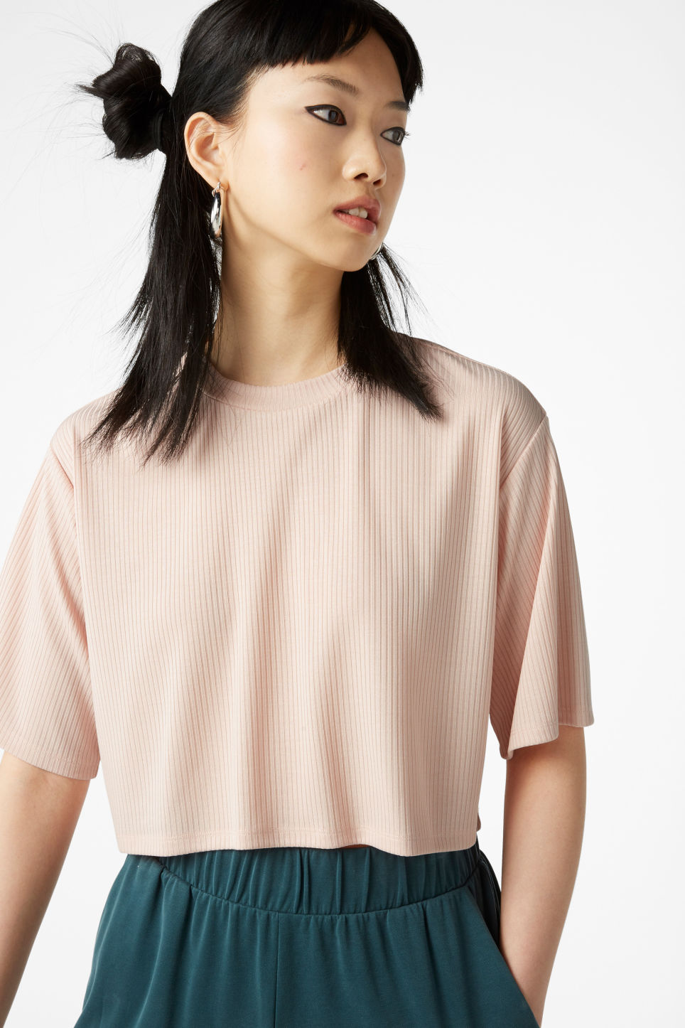 Model front image of Monki cropped top in orange