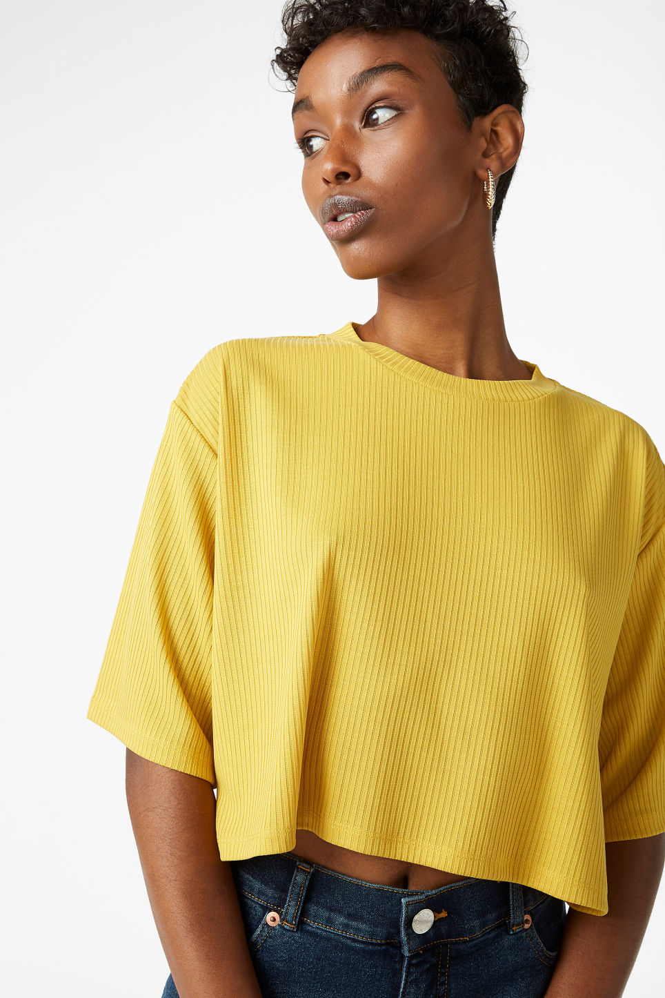 Model front image of Monki cropped top in yellow